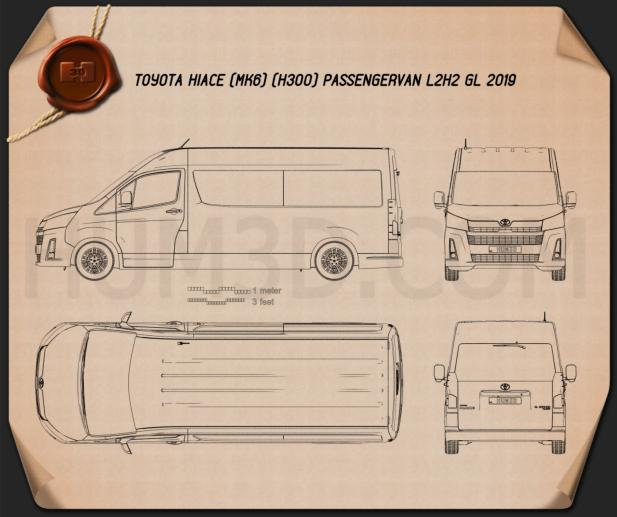 Toyota Hiace Passenger Van L2H2 GL 2019 Blueprint