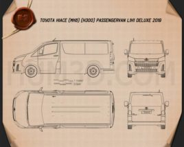 Toyota Hiace Passenger Van L1H1 Deluxe 2019 Blueprint