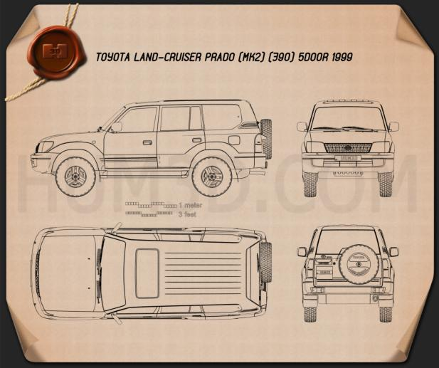 Toyota Land Cruiser Prado 5-door 1999 Blueprint