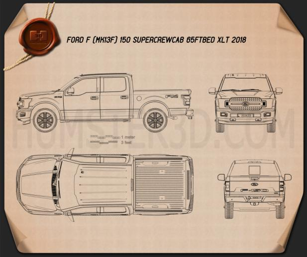 Ford F-150 Super Crew Cab 65ft Bed XLT 2018 Blueprint