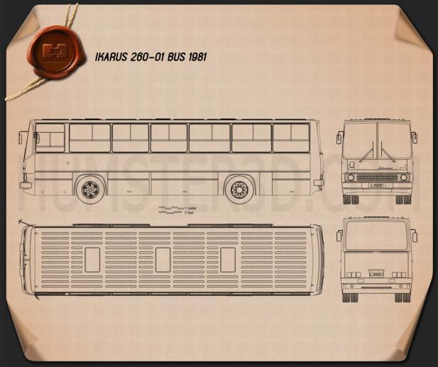 Ikarus 260-01 Bus 1981 Blueprint