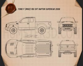 Ford F-150 SVT Raptor Super Cab 2009 Blueprint