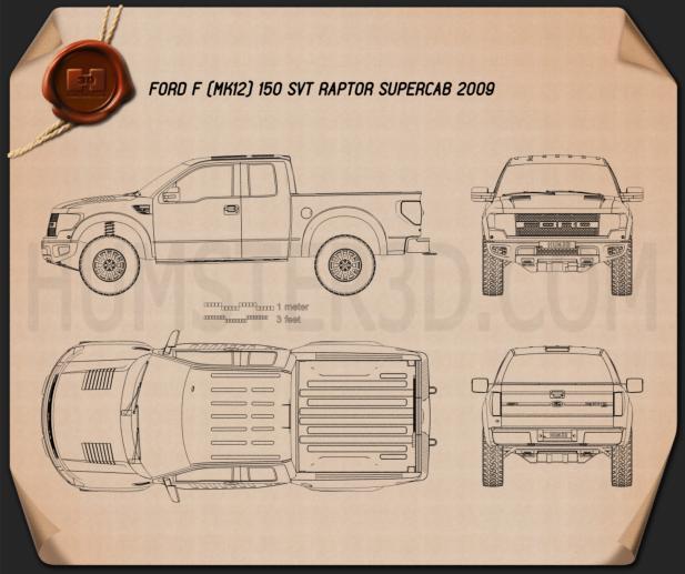 Ford F-150 SVT Raptor Super Cab 2009 Blueprint