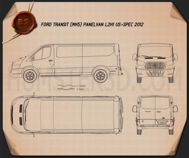 Ford Transit Panel Van L2H1 US-spec 2012 Blueprint