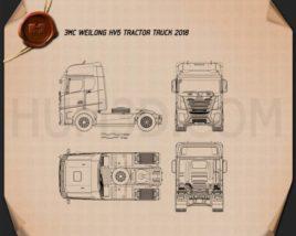 JMC Weilong HV5 Tractor Truck 2018 Blueprint