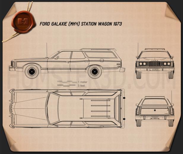 Ford Galaxie Station Wagon 1973 Blueprint