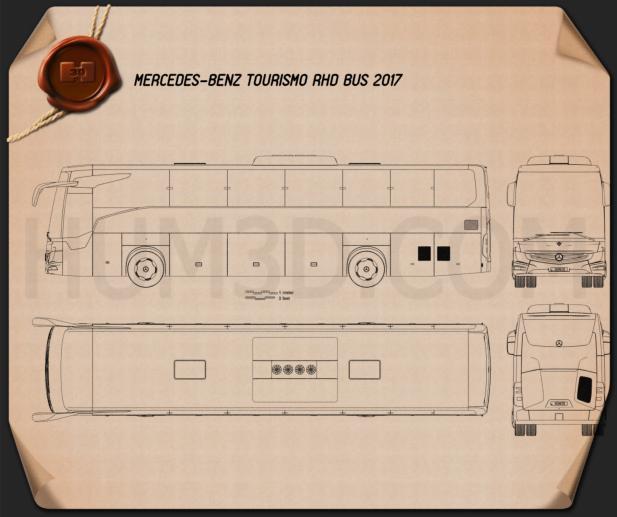 Mercedes-Benz Tourismo RHD Bus 2017 Blueprint