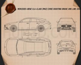 Mercedes-Benz CLA-class Shooting Brake AMG-Line 2019 Blueprint