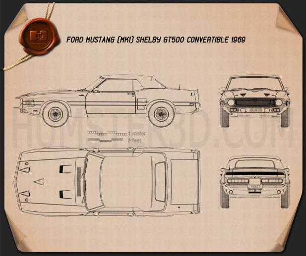 Ford Mustang Shelby GT500 convertible 1969 Blueprint