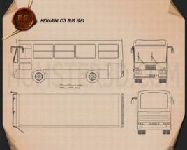 Menarini C13 Bus 1981 Blueprint