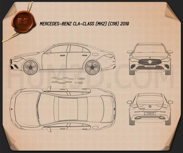 Mercedes-Benz CLA-class 2019 Blueprint