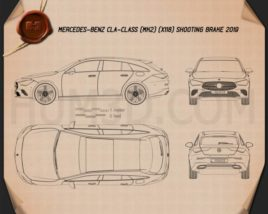 Mercedes-Benz CLA-class Shooting Brake 2019 Blueprint