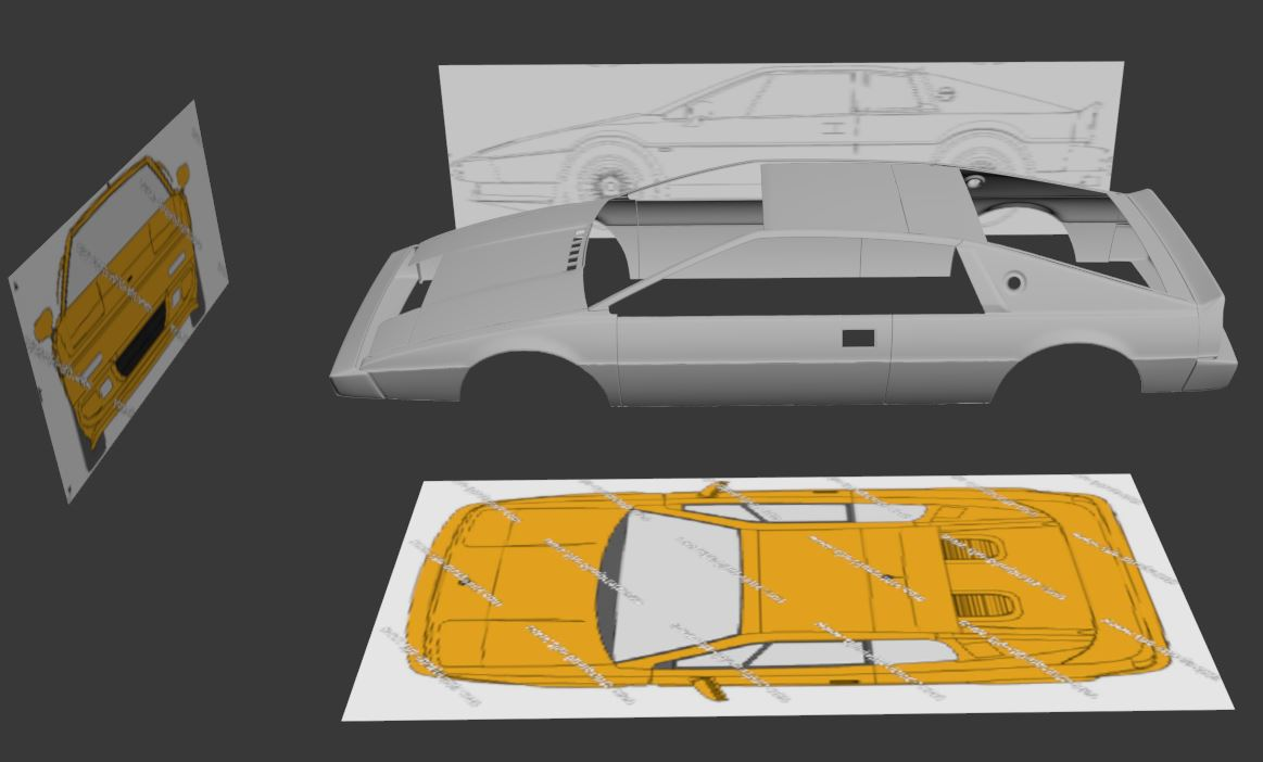 proces of modeling the car and scene
