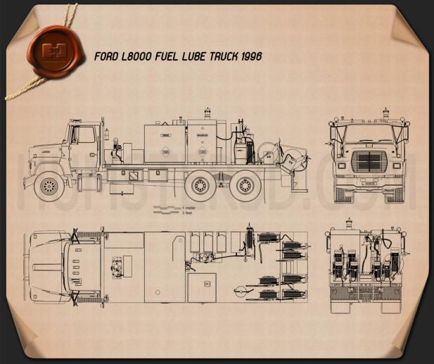 Ford L8000 Fuel and Lube Truck 1996 Blueprint