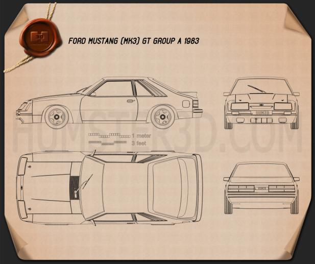 Ford Mustang GT Group A 1983 Blueprint