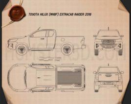 Toyota Hilux Extra Cab Raider 2019 Blueprint