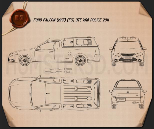 Ford Falcon UTE XR6 Police 2011 Blueprint
