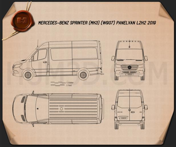 Mercedes-Benz Sprinter Panel Van L2H2 2019 Blueprint