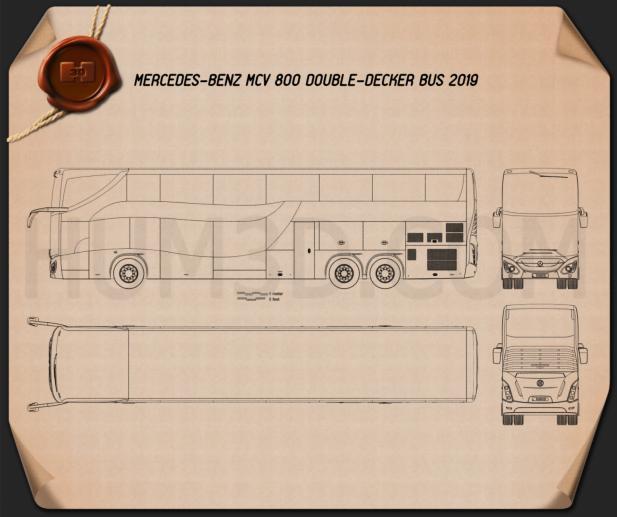 Mercedes-Benz MCV 800 Double-Decker Bus 2019 Blueprint