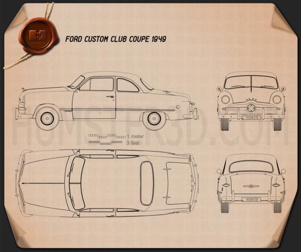 Ford Custom Club Coupe 1949 Blueprint