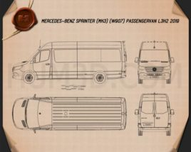 Mercedes-Benz Sprinter Passenger Van L3H2 2019 Blueprint