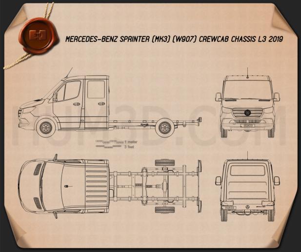 Mercedes-Benz Sprinter (W907) Crew Cab Chassis L3 2019 Blueprint