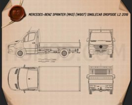 Mercedes-Benz Sprinter (W907) Single Cab Dropside L2 2019 Blueprint
