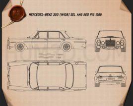 Mercedes-Benz 300 SEL AMG Red Pig 1969 Blueprint