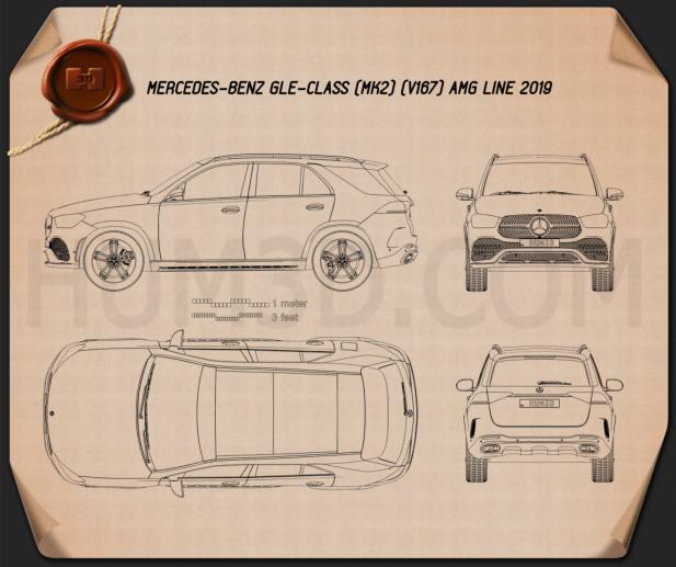 Mercedes-Benz GLE-class AMG Line 2019 Blueprint