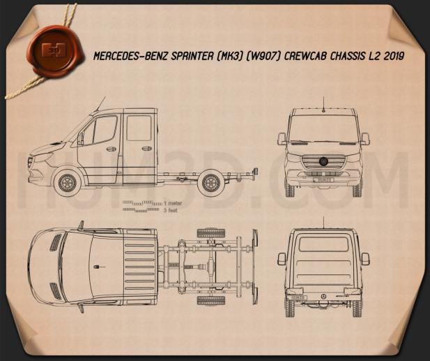 Mercedes-Benz Sprinter (W907) Crew Cab Chassis L2 2019 Blueprint
