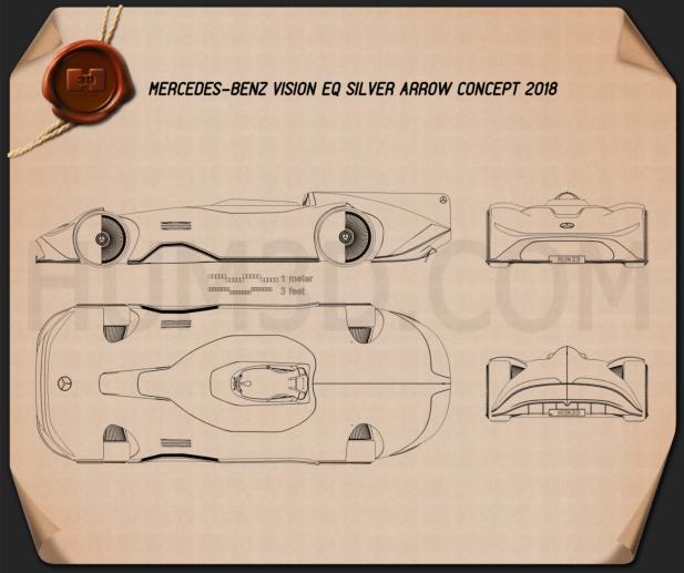 Mercedes-Benz Vision EQ Silver Arrow 2018 Blueprint