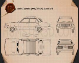 Toyota Corona sedan 1975 Blueprint