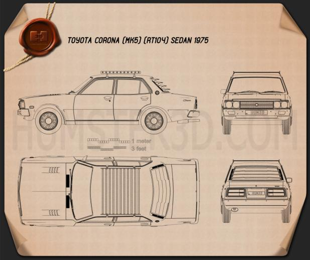 Toyota Corona sedan 1975 Blueprint
