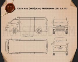 Toyota Hiace Passenger Van L2H3 GLX 2013 Blueprint