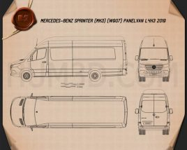 Mercedes-Benz Sprinter Panel Van L4H3 2019 Blueprint