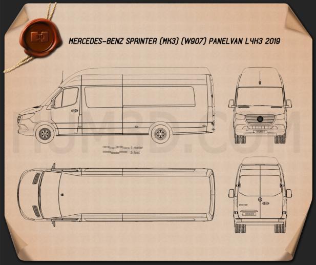Mercedes-Benz Sprinter Panel Van L4H3 2019 Blueprint
