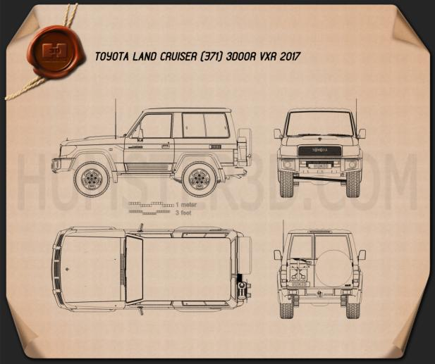 Toyota Land Cruiser 3-door VXR 2017 Blueprint
