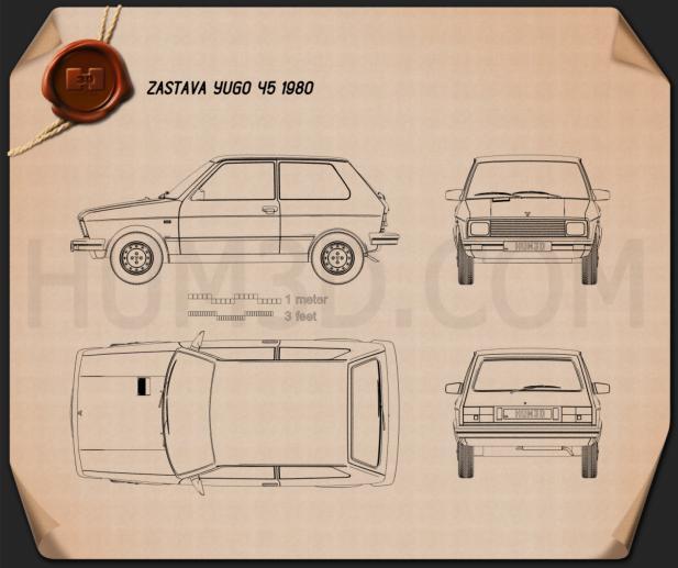 Zastava Yugo 45 1980 Blueprint