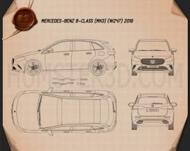 Mercedes-Benz B-Class (W247) 2019 Blueprint