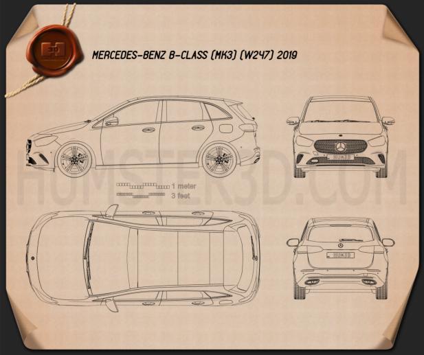 Mercedes-Benz B-Class (W247) 2019 Blueprint
