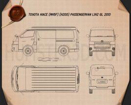 Toyota Hiace Passenger Van L1H2 GL 2013 Blueprint