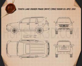 Toyota Land Cruiser Prado 5-door EU-spec 2013 Blueprint