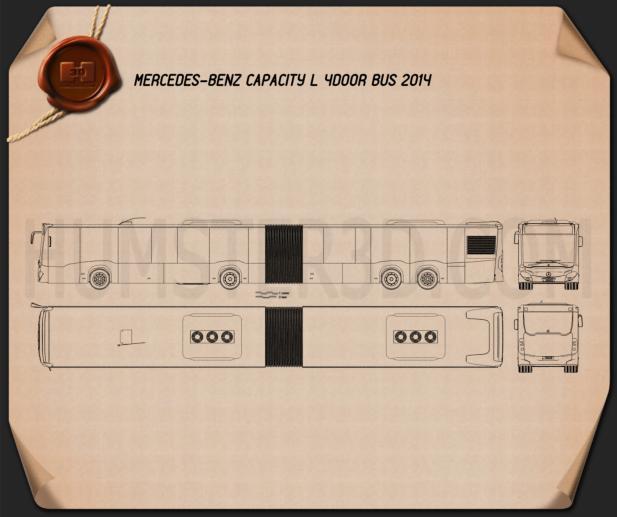 Mercedes-Benz CapaCity L 4-door Bus 2014 Blueprint