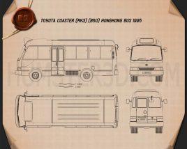 Toyota Coaster Hong Kong Bus 1995 Blueprint
