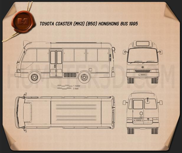 Toyota Coaster Hong Kong Bus 1995 Blueprint