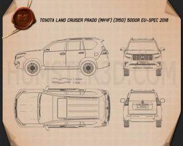 Toyota Land Cruiser Prado 5-door EU-spec 2018 Blueprint