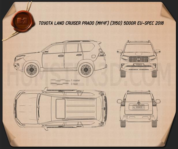 Toyota Land Cruiser Prado 5-door EU-spec 2018 Blueprint