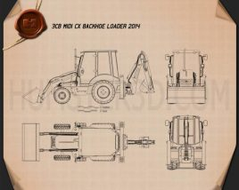 JCB Midi CX Backhoe Loader 2014 Blueprint