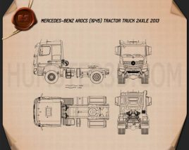 Mercedes-Benz Arocs Tractor Truck 2-axle 2013 Blueprint