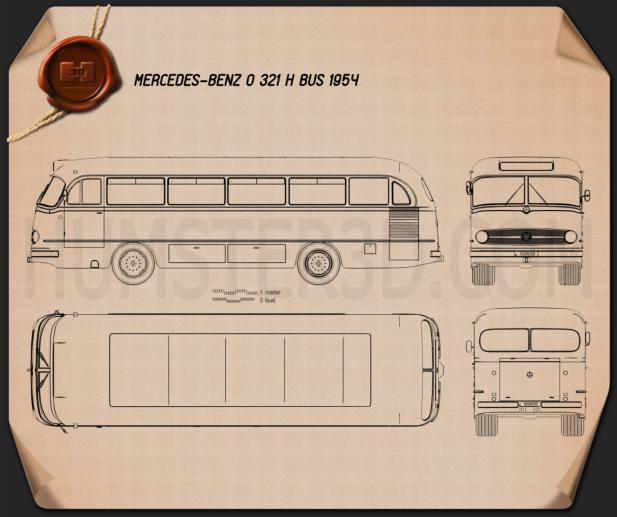 Mercedes-Benz O-321 H Bus 1954 Blueprint